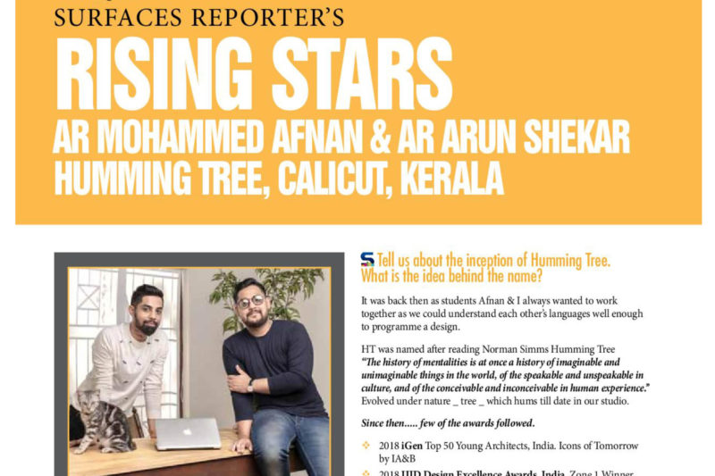 Featured in SURFACES REPORTERS ,Nov Issue, as Rising Stars