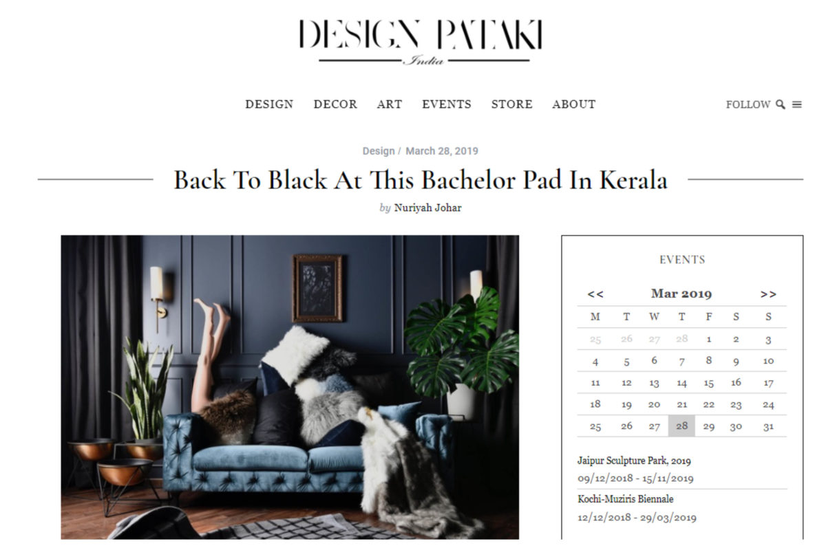 Featured on Design Pataki, Bachelors Pad, Kerala.