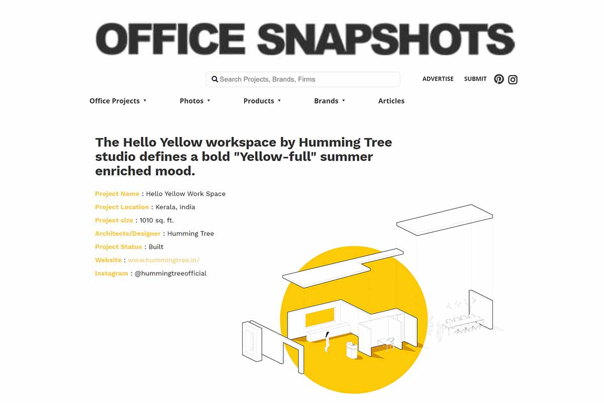 Hello Yellow office International feature on OFFICE SNAP SHOTS.