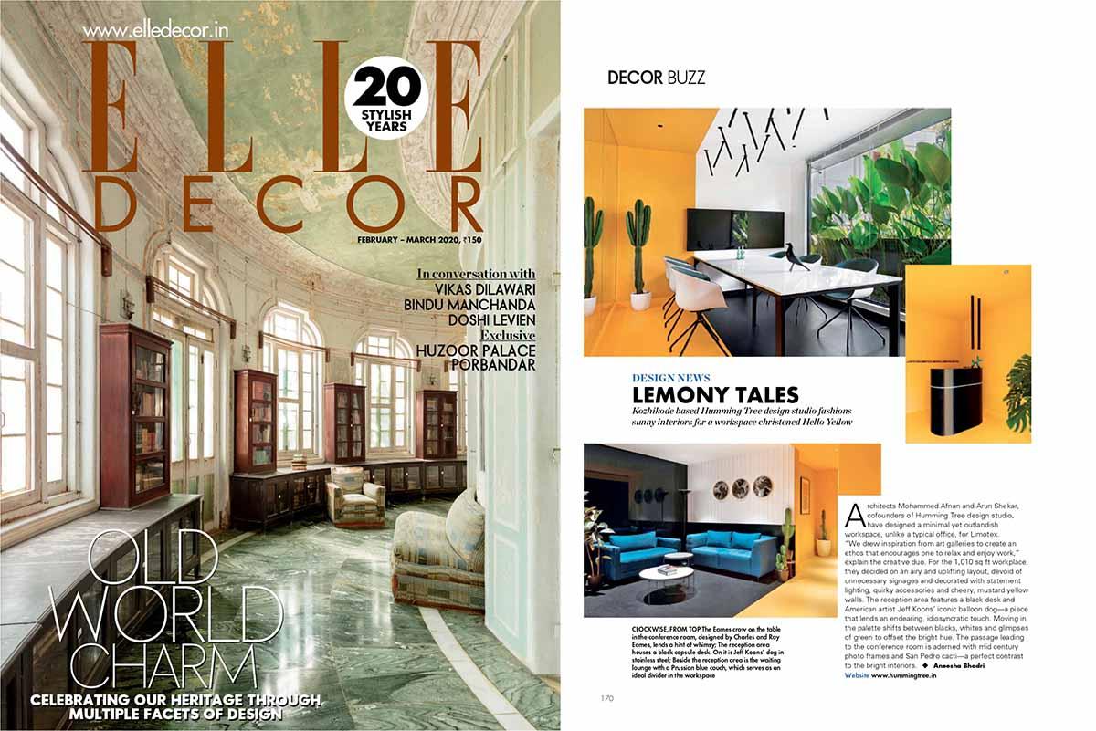 Hello Yellow Office featured on ELLE DECOR Magazine.