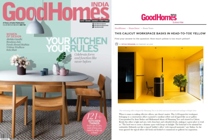 Hello Yellow Office featured on GOOD HOMES India.