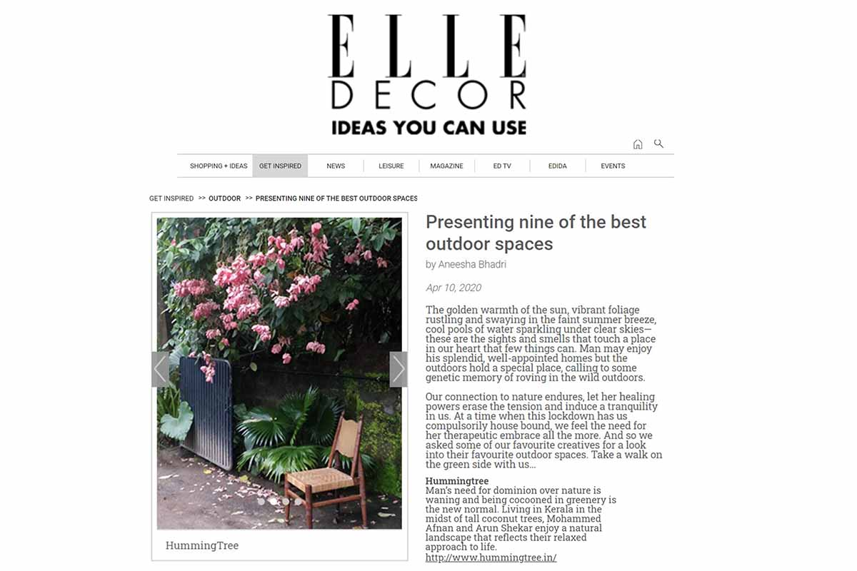 Humming Tree outdoor space featured on Elle Decor for Inspiration.