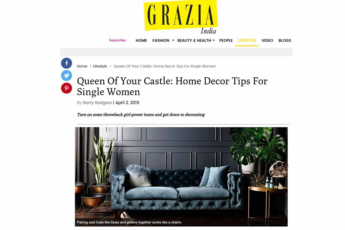 Bachelors Pad featured on GRAZIA magazine.