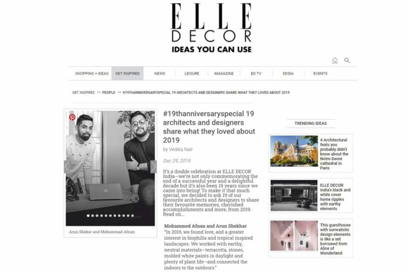 ELLE DECOR choose us as 19 Favorite Designers in India.