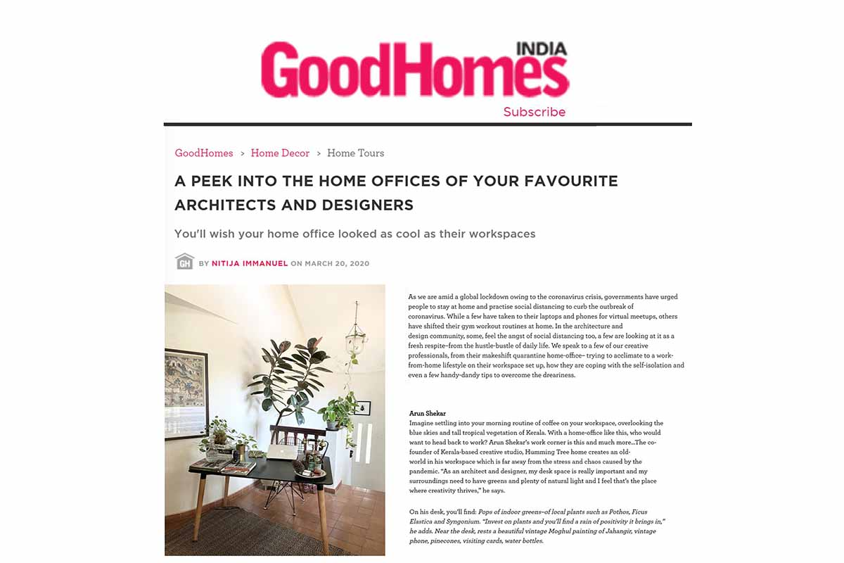 Humming Tree featured as one of 15 Best Home Offices in India.