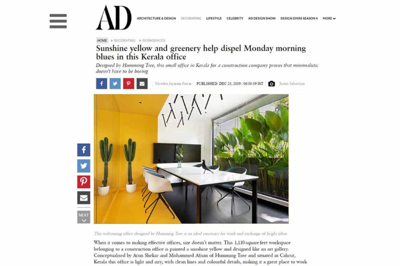 Hello Yellow office featured on AD India.