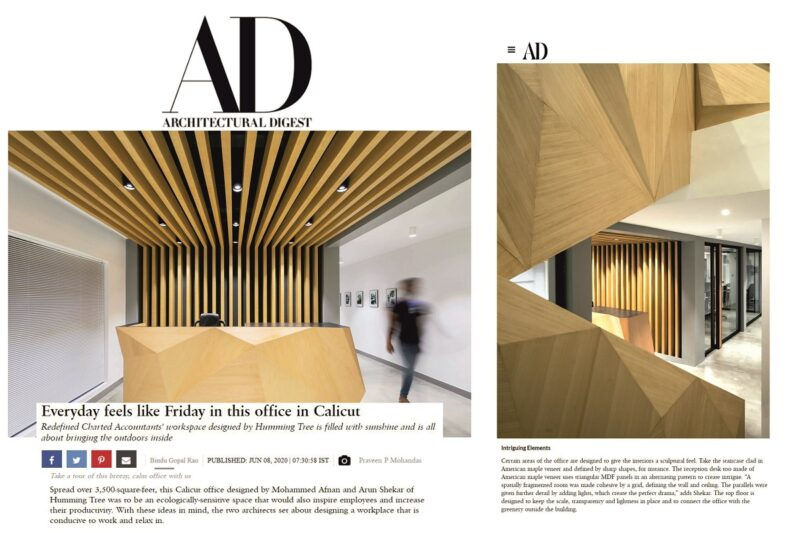 O2 OFFICE, Calicut featured on Architectural Digest